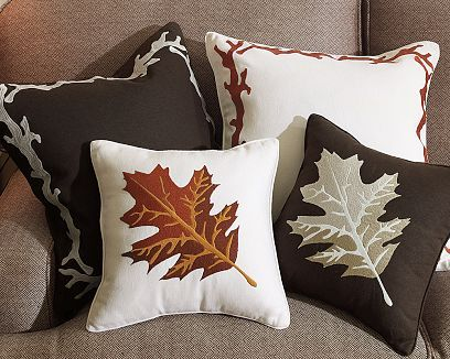 Leaf & Trunk Border Embroidered Pillows
