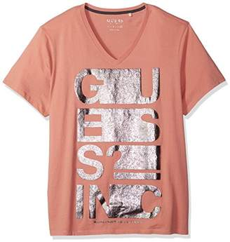 GUESS Men's Short Sleeve Basic Text Stretch V Neck Tee