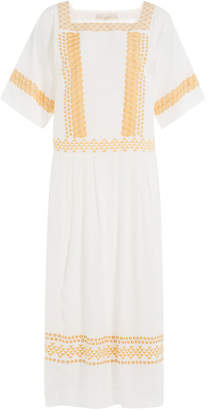 Vanessa Bruno Silk Dress with Eyelet Embroidery