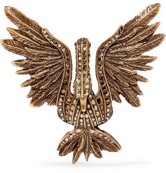 Lanvin - Antiqued Gold-tone Crystal Brooch $545 thestylecure.com