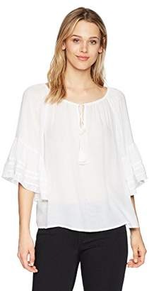 Lucky Brand Women's Bell Sleeve Peasant TOP
