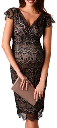 Tiffany & Co. Rose Maternity Imogen Surplice Cap-Sleeve Eyelash Lace Shift Dress