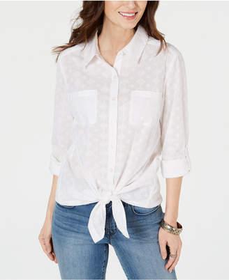 Style&Co. Style & Co Button-Down Tie-Hem Cotton Top