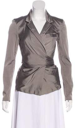 Donna Karan Silk Notch-Lapel Wrap Jacket