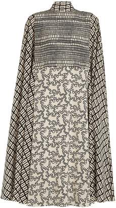 Valentino Geometric-print high-neck crepe de Chine dress