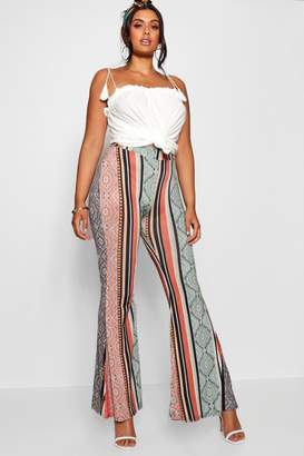 boohoo Plus Slinky Bohemian Flared Trouser