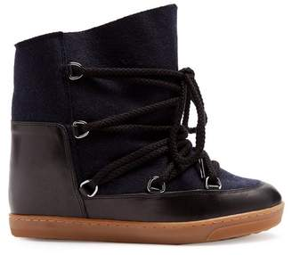 Isabel Marant - Nowles Shearling Lined Après Ski Boots - Womens - Navy