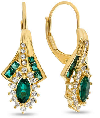 FINE JEWELRY Lab Created Green Emerald 14K Gold Over Silver Drop Earrings