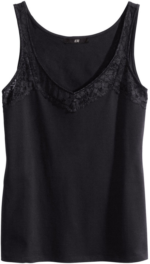 H&M Lace-trimmed Jersey Tank Top - Black