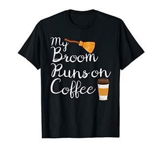 b-ROOM Funny Halloween Witch Broom Runs on Coffee Women Costume Mom T-Shirt