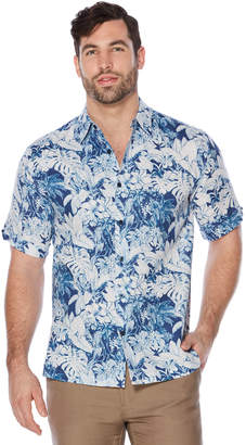 Cubavera Big & Tall Short Sleeve All Over Floral Print Leaf Shirt