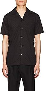 Officine Generale Men's Swiss Dot Cotton Shirt - Black