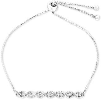 Wrapped Diamond Twist Bolo Bracelet (1/4 ct. t.w.) in Sterling Silver, Created for Macy's