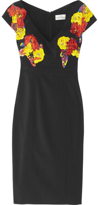 Erdem Tanya embroidered stretch-crepe dress