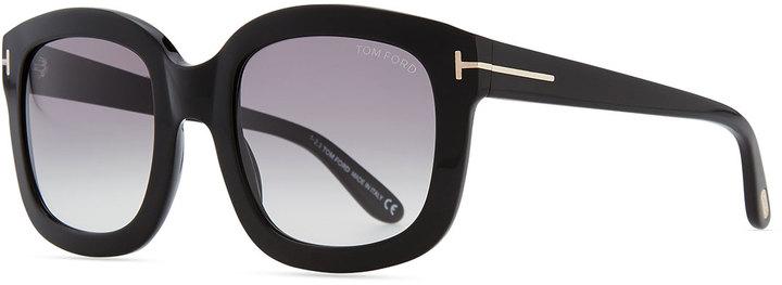 Tom Ford Christophe Oversized Sunglasses, Shiny Black
