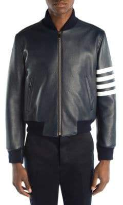Thom Browne Stripe Sleeve Leather Bomber Jacket