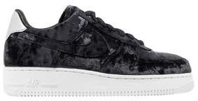 Nike Woman Air Force 1 Metallic Faux Leather-trimmed Crushed-velvet Sneakers Black Size 8.5