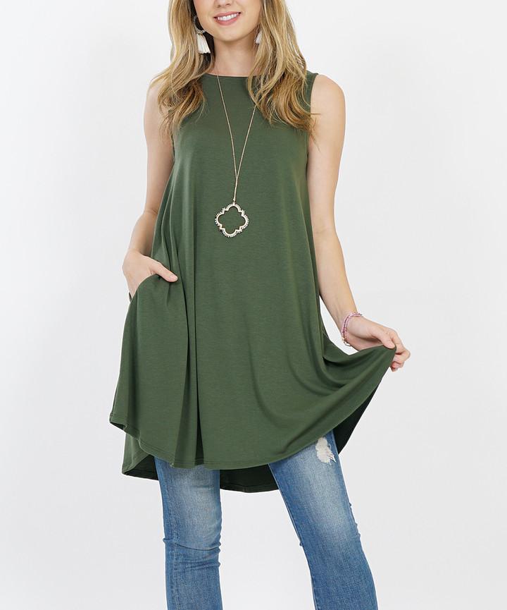 Army Green Sleeveless Round-Hem Crewneck Pocket Tunic - Women & Plus