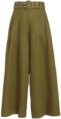 Nicholas Belted Wide Leg Linen Trousers