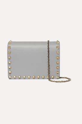Valentino Garavani The Rockstud Leather Shoulder Bag - Gray