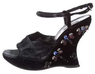 Prada Velvet Embellished Sandals