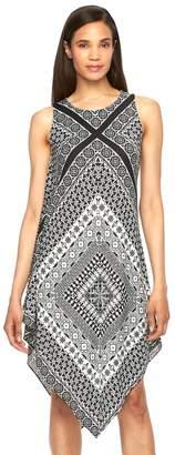 MSK Women's Printed Asymmetrical Hem Shift Dress