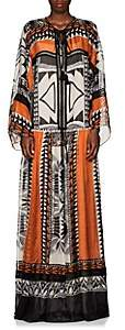 Alberta Ferretti Women's Geometric-Print Silk Tieneck Long Dress - Orange