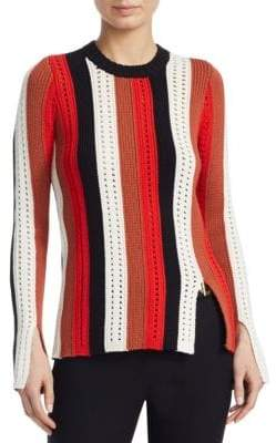 Derek Lam 10 Crosby Striped Pointelle Sweater