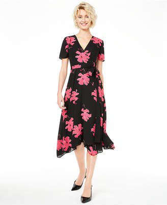 Alfani Floral-Print V-Neck Wrap Dress