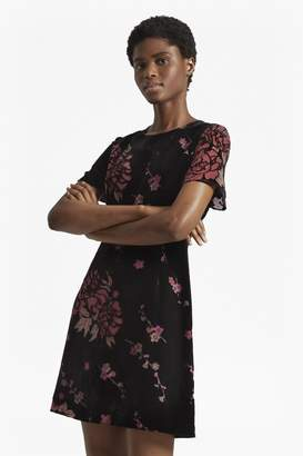French Connection Wilma Devoré Short Sleeved Dress