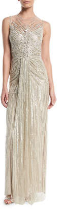 Jenny Packham Illusion-Neck Sleeveless Embellished Evening Gown