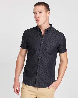 Short Sleeve Denim Printed Shirt
