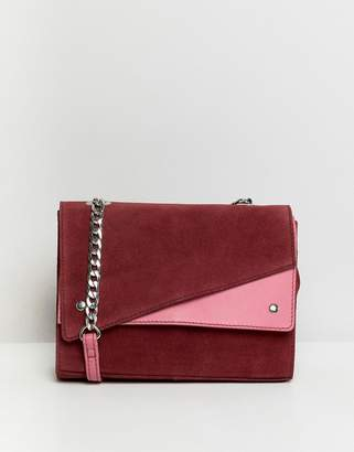 Asos Design DESIGN suede colour block shoulder bag