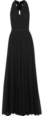L'Agence Cutout Georgette Halterneck Gown