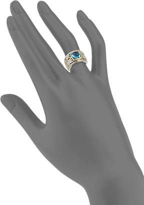 Charles Krypell 18K Yellow Gold, Sterling Silver & Blue Topaz Ring