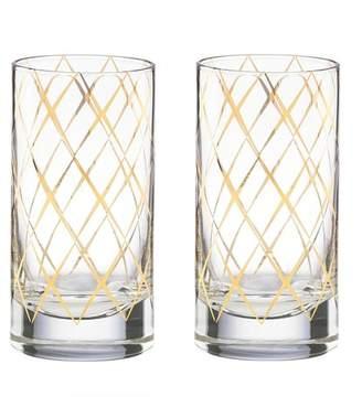 Kate Spade Gold Trellis Highball Glasses - Set Of 2