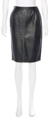 Ungaro Leather Knee-Length Skirt