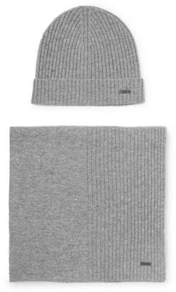 fb8254c2159 HUGO BOSS Ribbed Cashmere Beanie And Scarf Set