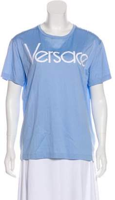 Versace Crew Neck Embroidered Logo T-Shirt Blue Crew Neck Embroidered Logo T-Shirt