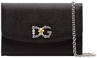 Dolce & Gabbana black crystal embellished leather wallet on chain