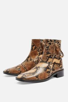 Topshop AUBREY Snake Print Flat Leather Boots