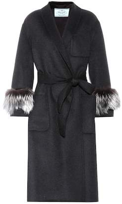 Prada Fur-trimmed wool and angora coat