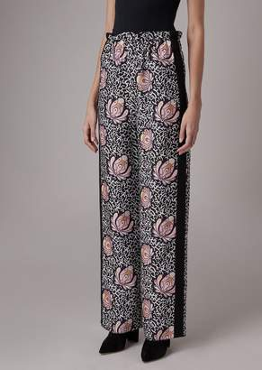 Giorgio Armani Mixed Silk Palazzo Pants With Foliage Pattern And Contrast Band