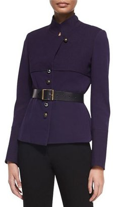 Donna Karan Long-Sleeve Belted Trench Jacket, Dark Purple $2,295 thestylecure.com