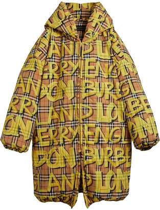Burberry graffiti check puffer jacket