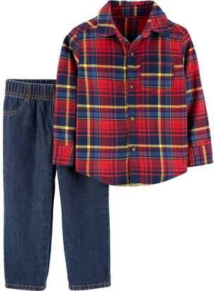 Carter's Toddler Boy Plaid Button Down Shirt & Jeans Set