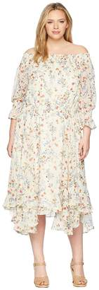 Tahari ASL Plus Size Flounced Off Shoulder Midi Dress Women's Dress