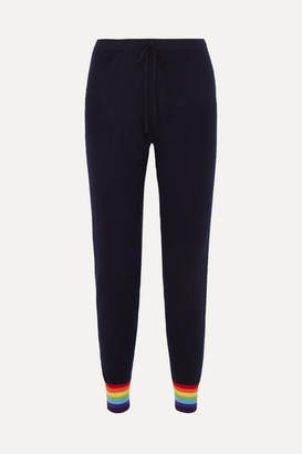 Madeleine Thompson Bill Striped Cashmere Track Pants - Navy