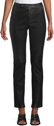 Helmut Lang Straight-Leg Leather Suit Pants