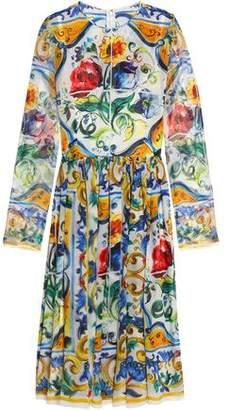 Dolce & Gabbana Pleated Printed Silk-Georgette Dress